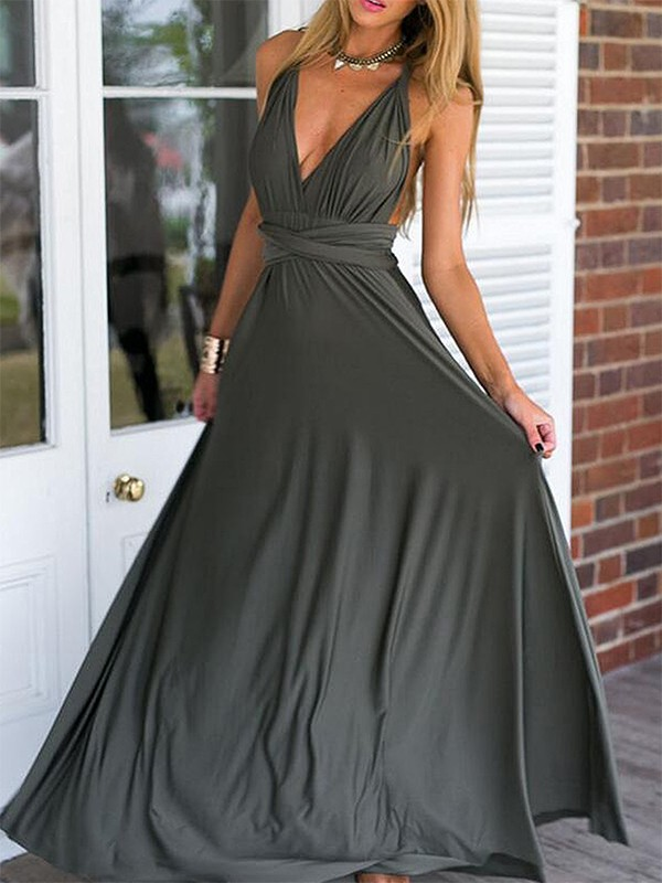 Romantic Vibes Empire V-neck Floor-Length With Ruched Chiffon Dresses