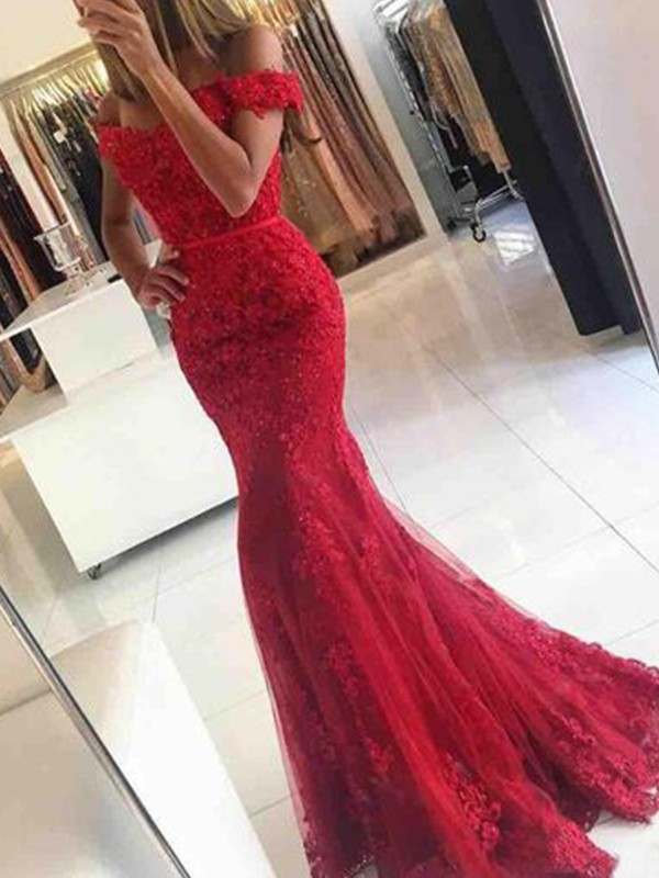 Fresh Picks Mermaid Style Off-the-Shoulder Sweep/Brush Train Tulle With Applique Dresses