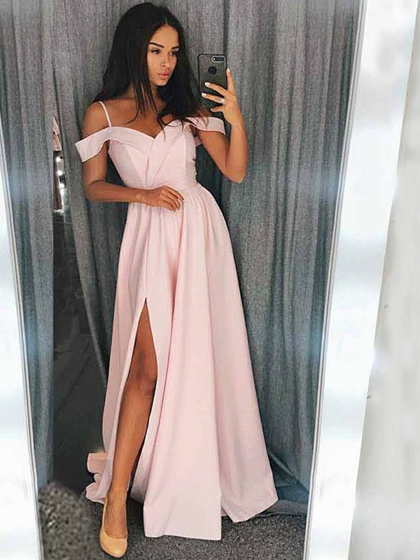 Modern Mood Princess Style Off-the-Shoulder Sweep/Brush Train With Ruffles Satin Dresses