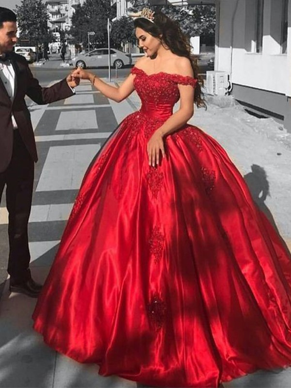 Eye-Catching Charm Ball Gown Off-the-Shoulder Sweep/Brush Train Satin Lace Dresses