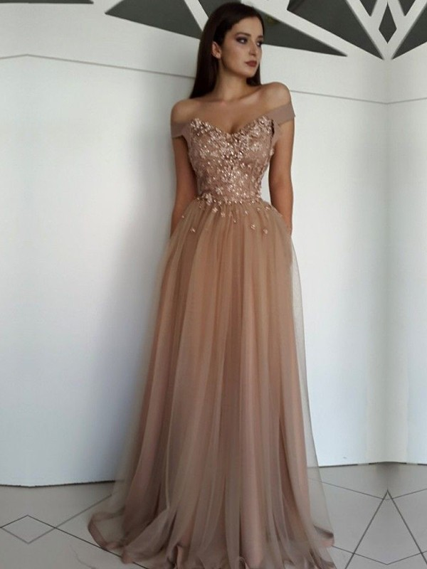 Stylish Refresh Princess Style Off-the-Shoulder Floor-Length Applique Tulle Dresses