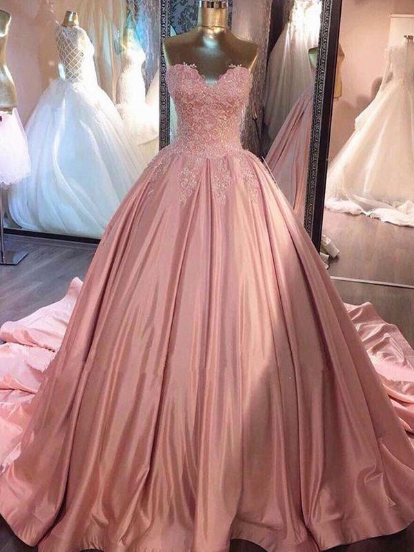 Savor the Occasion Ball Gown Sweetheart Court Train Lace Satin Dresses