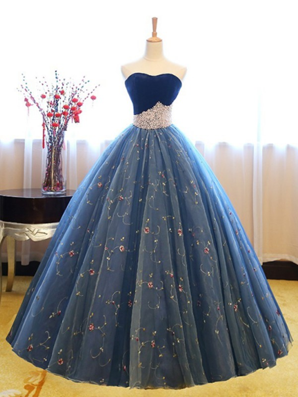 Time to Shine Ball Gown Sweetheart Floor-Length Beading Net Dresses
