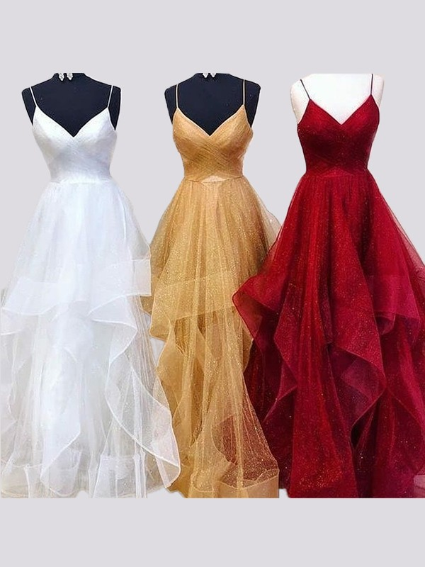 Cordially Delighted Princess Style Spaghetti Straps Floor-Length Organza Ruffles Dresses