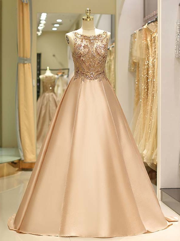 Too Much Fun Ball Gown Bateau Sweep/Brush Train Beading Satin Dresses