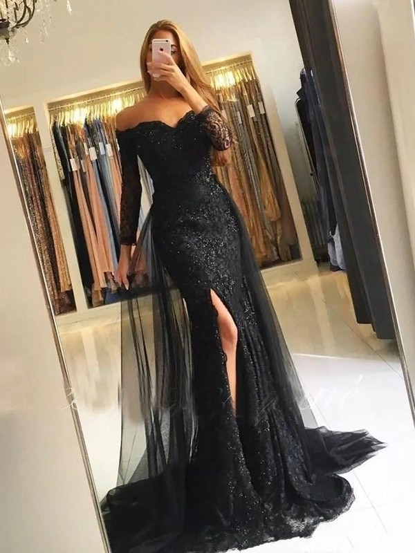 Dancing Queen Trumpet/Mermaid Style Off-the-Shoulder Sweep/Brush Train Tulle Lace Dresses
