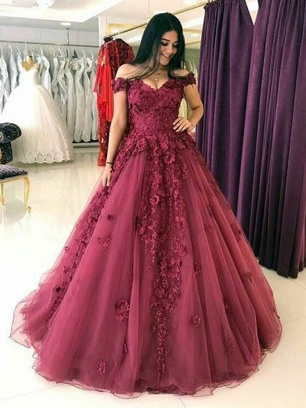 Defined Shine Ball Gown Off-the-Shoulder Sweep/Brush Train Applique Tulle Dresses