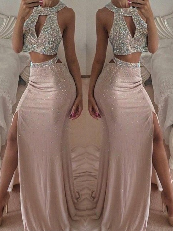 Beautiful You Trumpet/Mermaid Style Halter Floor-Length Beading Chiffon Two Piece Dresses