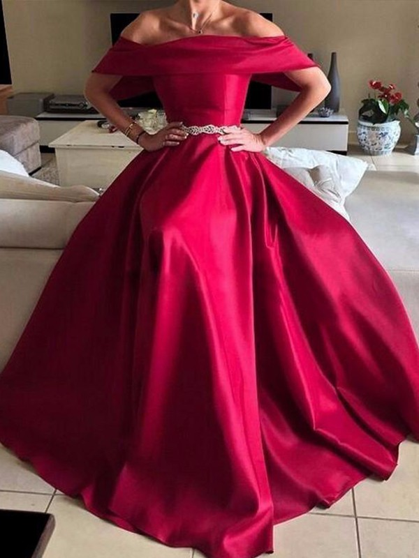 Befits Your Brilliance Princess Style Off-the-Shoulder Floor-Length Sash/Ribbon/Belt Satin Dresses