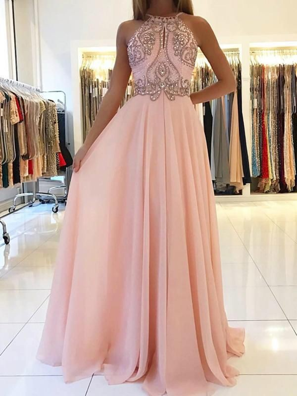 Aesthetic Honesty Princess Style Halter Sweep/Brush Train Beading Chiffon Dresses