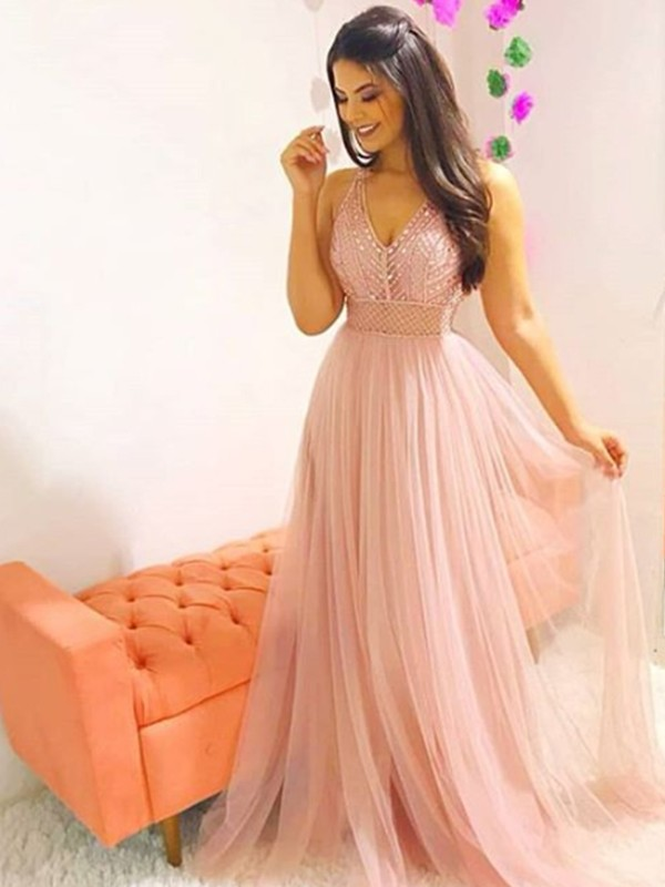Voiced Vivacity Princess Style V-neck Sweep/Brush Train Crystal Tulle Dresses