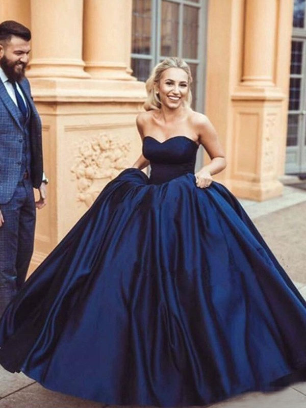 Pleased to be Me Ball Gown Sweetheart Sweep/Brush Train Ruffles Satin Dresses