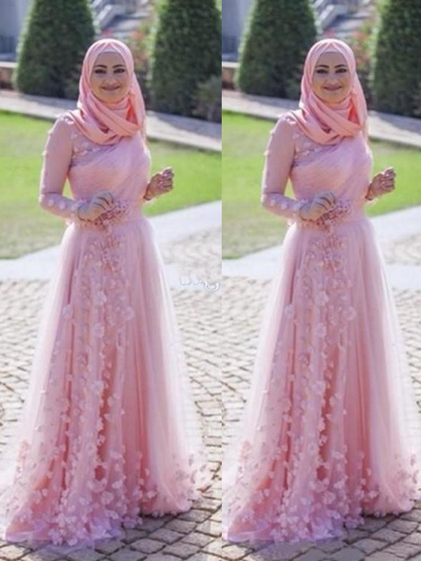 Just My Style Princess Style Scoop Sweep/Brush Train Applique Tulle Muslim Dresses