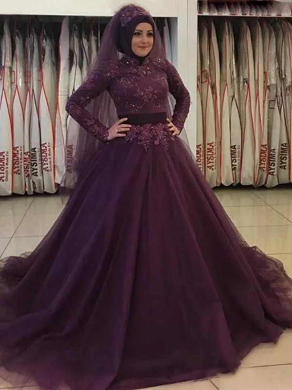 Touch of Texture Ball Gown High Neck Sweep/Brush Train Applique Tulle Muslim Dresses