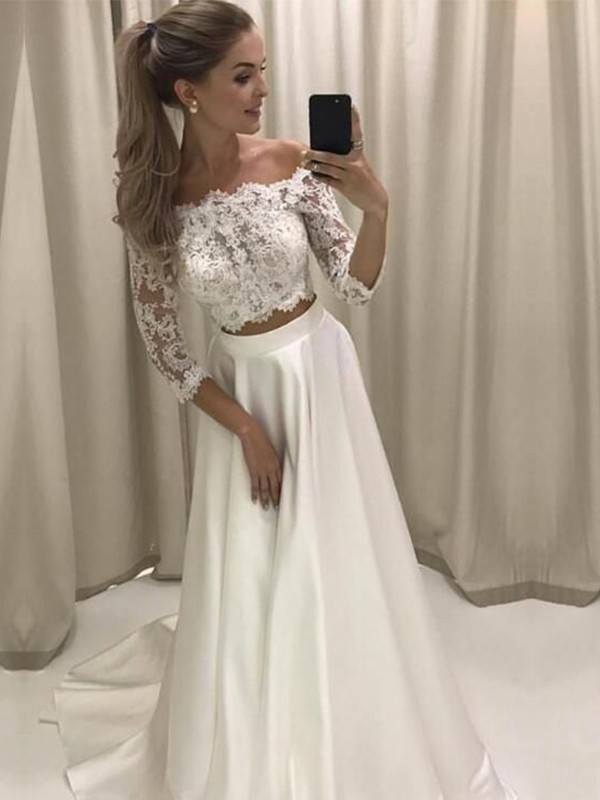 Modern Mood Princess Style Off-the-Shoulder 3/4 Sleeves Sweep/Brush Train Lace Satin Wedding Dresses