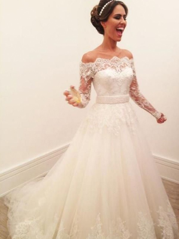 Limitless Looks Princess Style Off-the-Shoulder Long Sleeves Sweep/Brush Train Lace Tulle Wedding Dresses