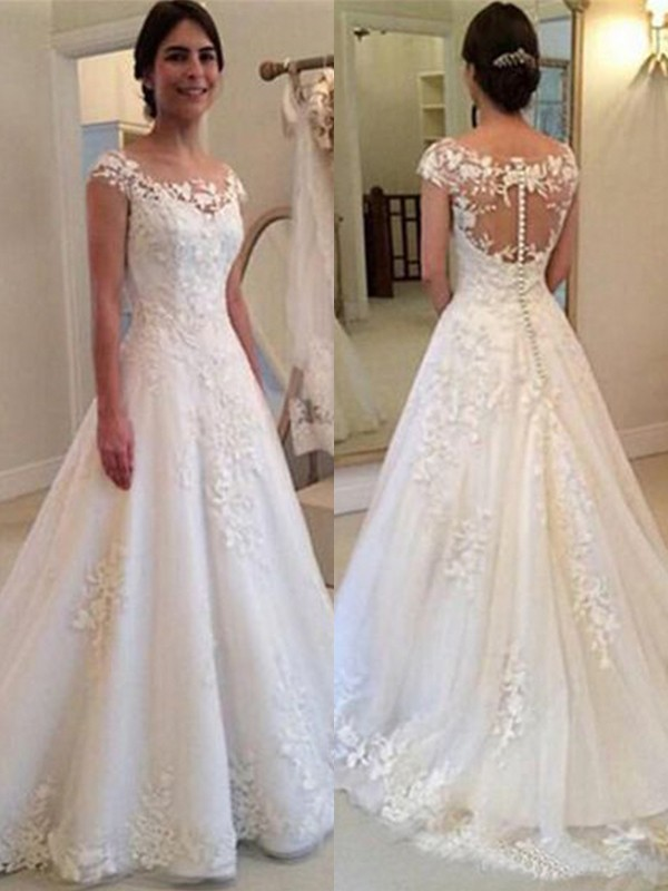 Desired Spotlight Princess Style Scoop Sleeveless Sweep/Brush Train Lace Tulle Wedding Dresses