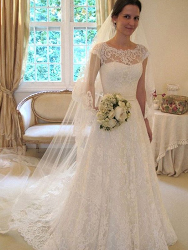 Comfortably Chic Princess Style Scoop Sleeveless Sweep/Brush Train Lace Satin Wedding Dresses