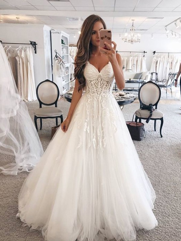 Fabulous Fit Princess Style Sweetheart Sleeveless Floor-Length Lace Tulle Wedding Dresses