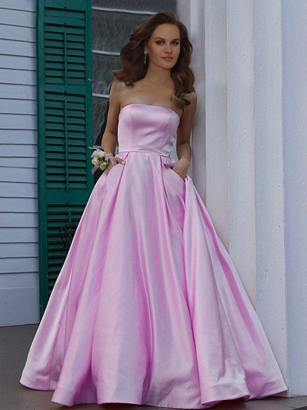 Intuitive Impact Princess Style Strapless Sleeveless Floor-Length Ruffles Satin Dresses