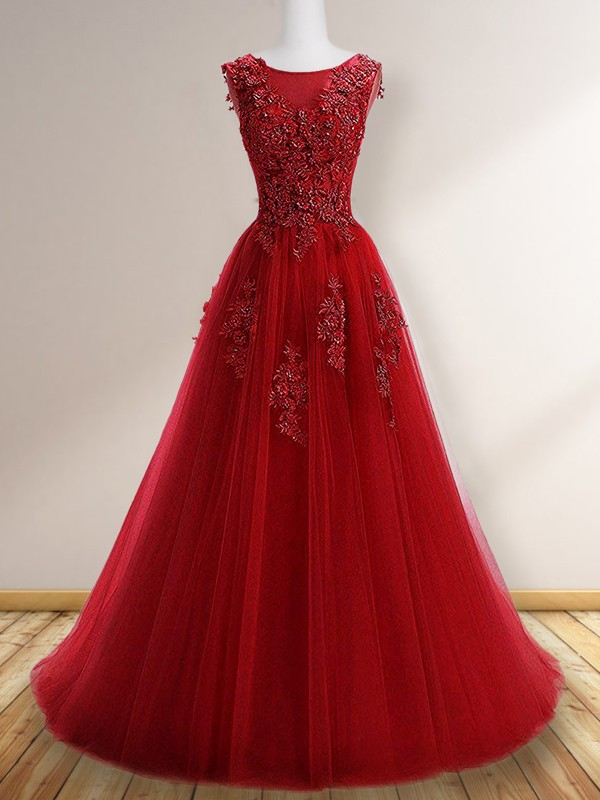 Absolute Lovely Princess Style Scoop Sleeveless Floor-Length Applique Tulle Dresses
