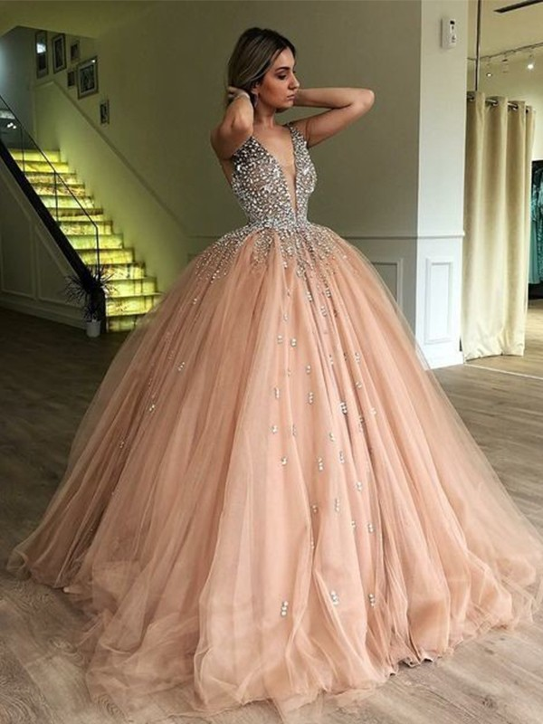 fb97b3d3ab9 Pleasant Emphasis Ball Gown V-neck Sleeveless Floor-Length Beading Tulle  Dresses