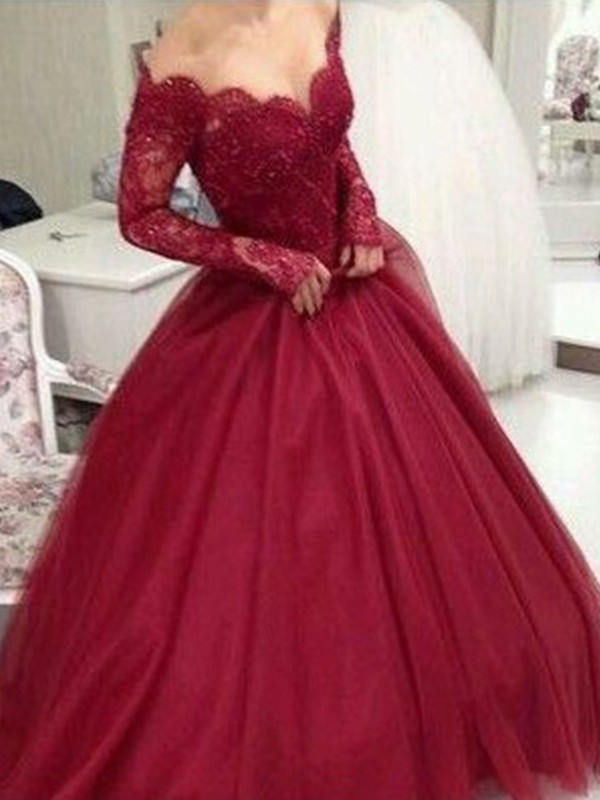 Cordially Delighted Ball Gown V-neck Long Sleeves Floor-Length Lace Tulle Dresses