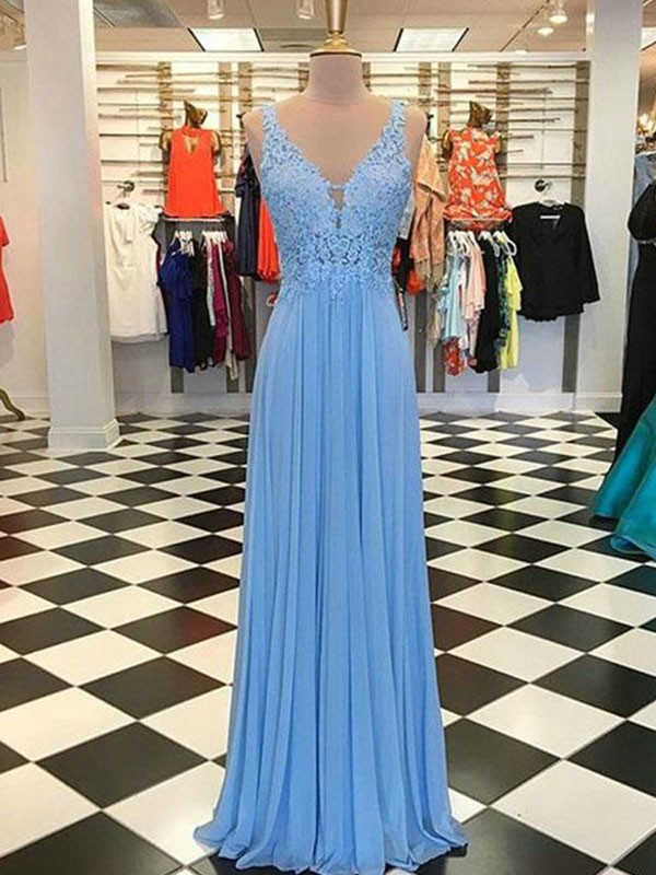 Glitz the Spot Princess Style Spaghetti Straps Floor-Length With Applique Chiffon Dresses
