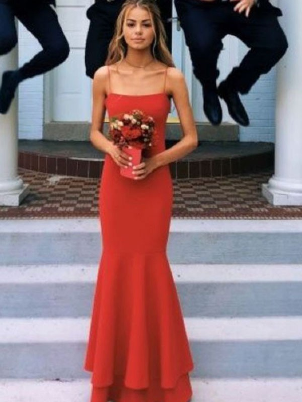 Savor the Occasion Sheath Style Spaghetti Straps Floor-Length With Layers Satin Dresses
