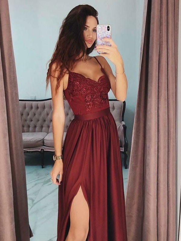 Absolute Lovely Princess Style V-neck Floor-Length With Lace Silk like Satin Dresses
