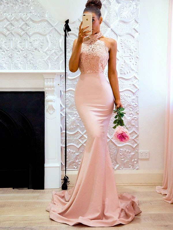 Confident Option Mermaid Style Halter Sweep/Brush Train With Lace Satin Dresses