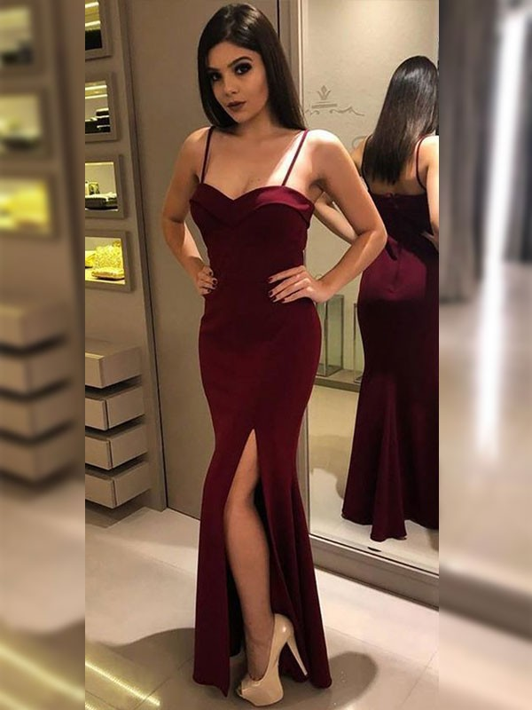 Memorable Magic Sheath Style Spaghetti Straps Floor-Length Jersey Dresses