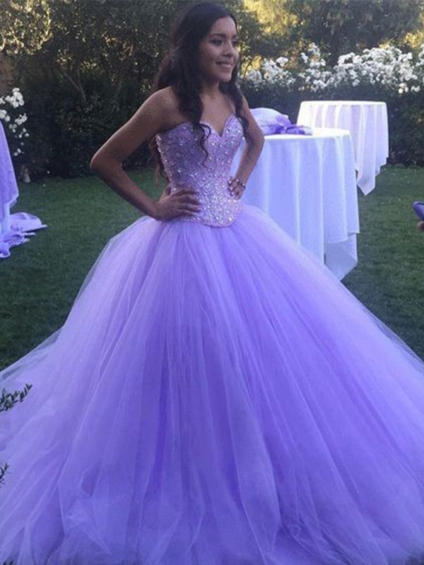 Befits Your Brilliance Ball Gown Tulle With Beading Sweetheart Sweep/Brush Train Dresses