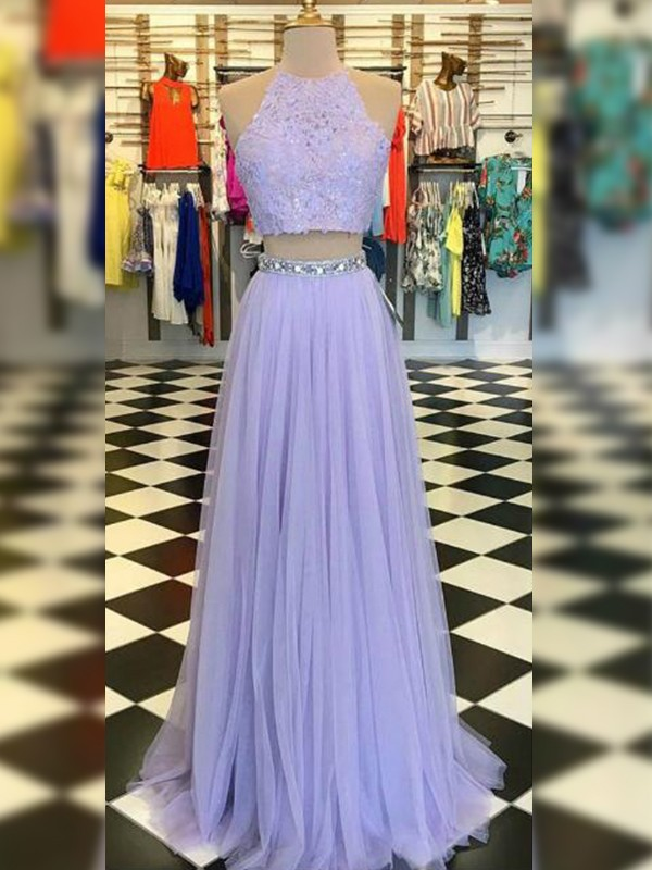 Savor the Occasion Princess Style Tulle Lace Halter Floor-Length Two Piece Dresses