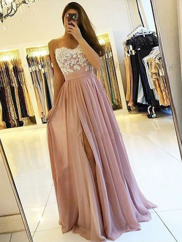 Too Much Fun Princess Style Spaghetti Straps Floor-Length With Applique Chiffon Dresses