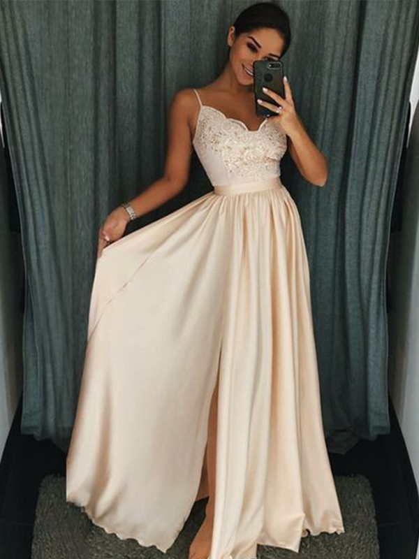 Open to Adoration Princess Style Spaghetti Straps Floor-Length With Applique Silk like Satin Dresses