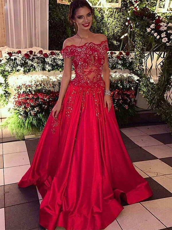 573a974d676 Embracing Grace Ball Gown Off-the-Shoulder Sweep Brush Train With Beading  Satin