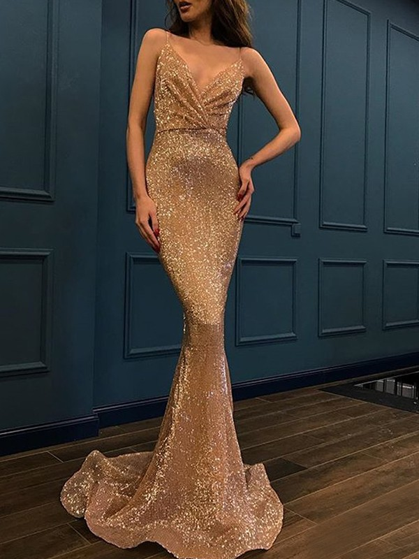 Chic Chic London Mermaid Style Spaghetti Straps Sweep/Brush Train Sequins Dresses