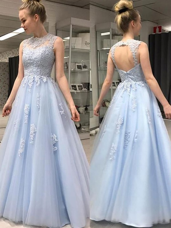 Styled to Smile Princess Style Sheer Neck Floor-Length With Applique Tulle Dresses