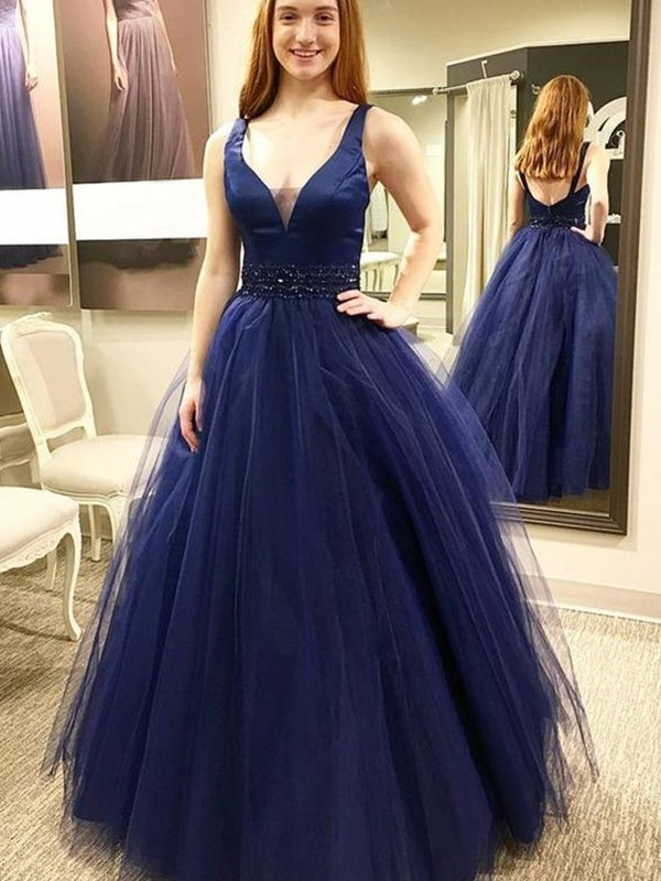 Fabulous Fit Ball Gown V-neck Floor-Length With Beading Tulle Dresses