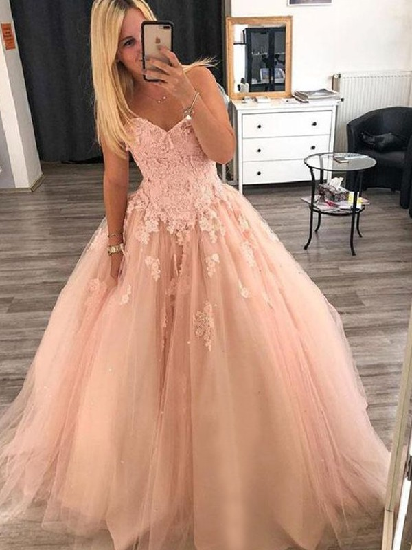 Visual Moment Ball Gown Sweetheart Floor-Length With Applique Tulle Dresses