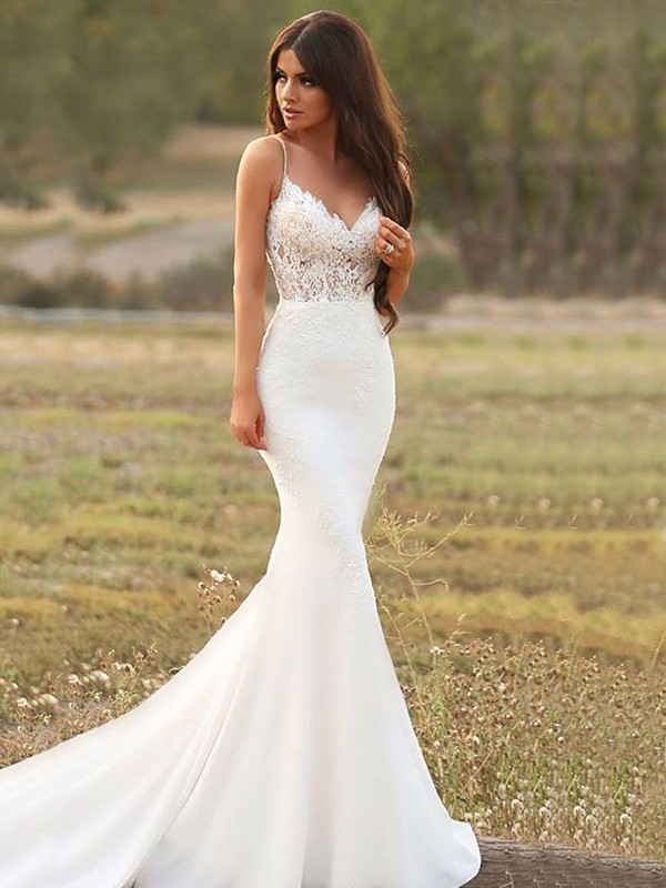 Stylish Refresh Mermaid Style Satin With Applique Spaghetti Straps Sweep/Brush Train Wedding Dresses