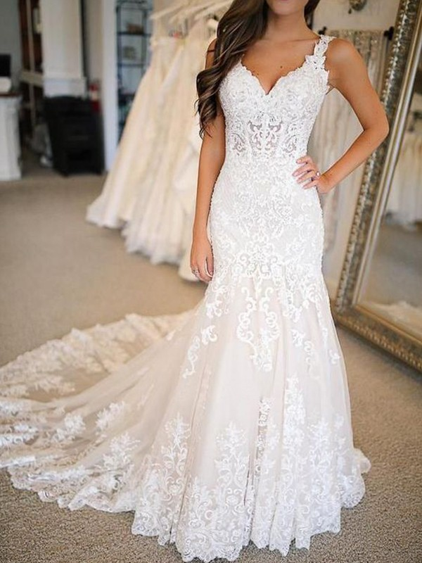 Lively Identity Mermaid Style Tulle With Applique V-neck Sweep/Brush Train Wedding Dresses