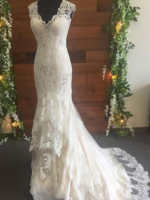 Just My Style Mermaid Style Tulle Lace V-neck Sweep/Brush Train Wedding Dresses