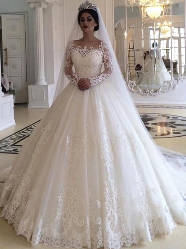 Beautiful You Ball Gown Tulle With Applique Off-the-Shoulder Sweep/Brush Train Wedding Dresses