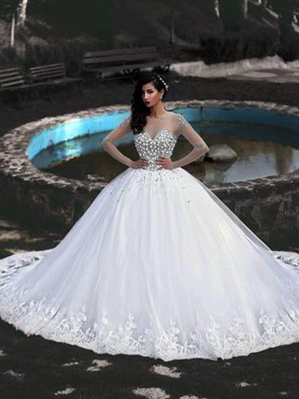 Easily Adored Ball Gown Tulle With Beading Scoop Sweep/Brush Train Wedding Dresses