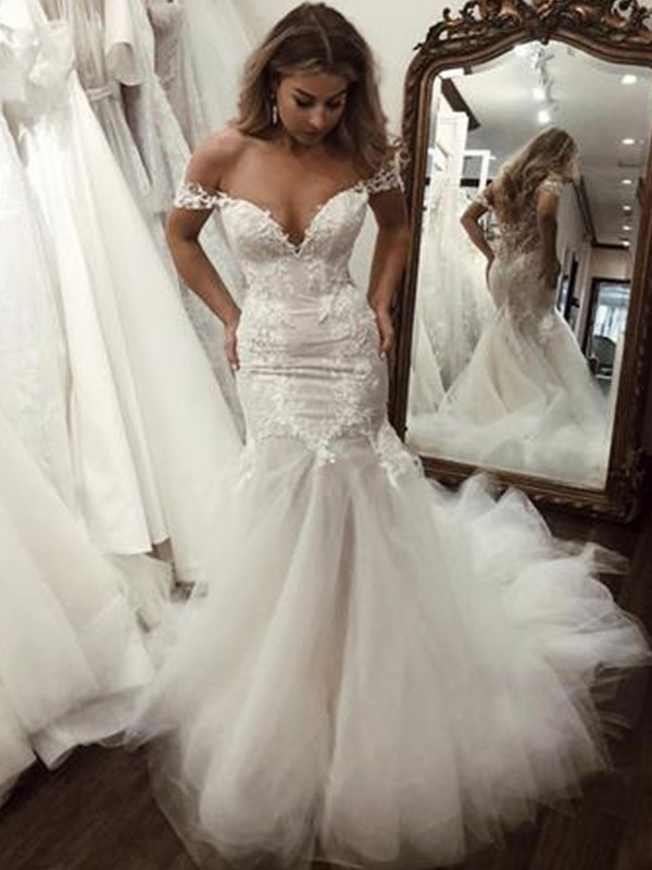 Naturally Chic Mermaid Style Tulle With Applique Off-the-Shoulder Sweep/Brush Train Wedding Dresses