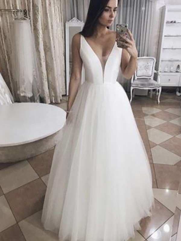 Embracing Grace Princess Style Tulle With Ruffles V-neck Floor-Length Wedding Dresses