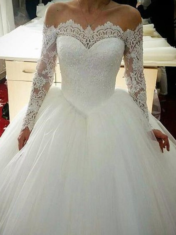 Dashing Darling Ball Gown Tulle With Applique Off-the-Shoulder Sweep/Brush Train Wedding Dresses