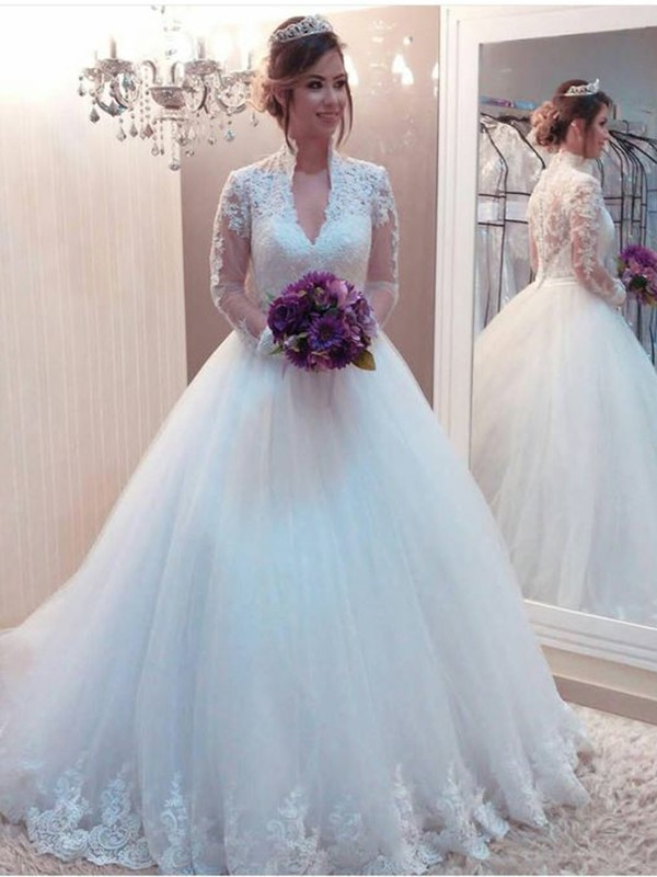 Befits Your Brilliance Ball Gown Tulle With Applique High Neck Sweep/Brush Train Wedding Dresses